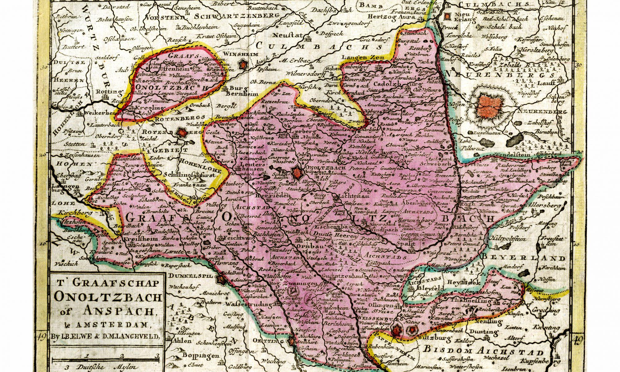 holländische Karte des Fürstentums Ansbach|Amsterdam 1791